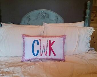 Made to order - Custom Applique Monogram Pillow