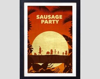 Sausage Party Poster, Sausage Party Minimalist, Sausage Party Jungle Print, Funny Present, Funny Gift, Dorm Poster, Dorm Art, Dorm Decor