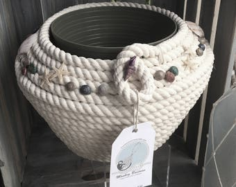 """3/8 Cotton rope """" White Charmer bowl"""" with natural shell embellishments"""