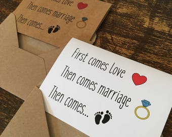 Pregnancy Announcement Cards, First Comes Love then Comes Marriage, Brown Kraft Card, Vintage Rustic Style