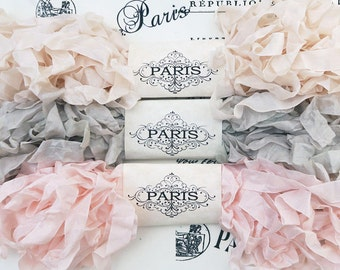 Seam Binding,Scrunched, Shabby Crinkled Ribbon, Blush, Pink, Beige, Rayon Ribbon,Junk  Journals,, French Vintage, Crazy Quilting, Infinity