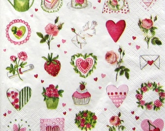 Towel style shabby - mainly pink, green and red on white background - 33x33cm