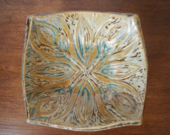 Floral Carved Square Plate