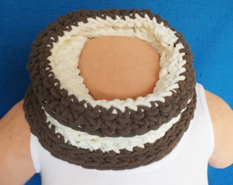 Hand Crocheted Brown and Cream Chenille Neck Warmer