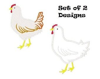 Hen Embroidery Designs Embroidery Design Chickens Applique Filled Stitch Chicken Designs 4X4 5X7 6X10 8X8 Instant Download