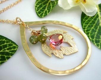Christmas mistletoe red and green pendant necklace, Christmas leaf tear drop pendant necklace