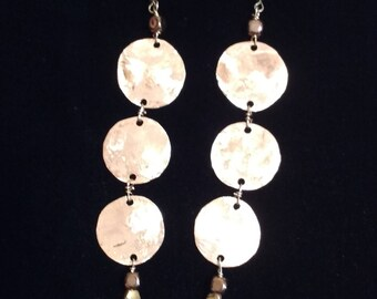 Copper Three Penny Swing Earring