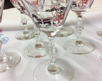 Harness Racing Inspired Martini Glasses Vintage Set of 8