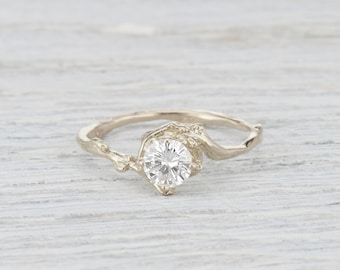 Twig Engagement Ring. Moissanite Ring.  5mm Forever One Moissanite. Naples Solitaire. Yellow Gold, White Gold, Rose Gold or Platinum
