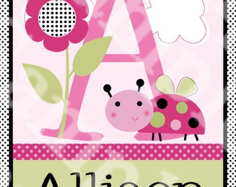 Personalized (Lil Little Ladybugs) 8x10 Initial/Name Nursery Art Print