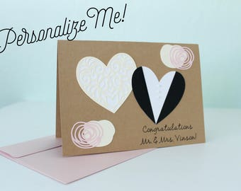 Personalized Wedding Card, Congratulations, Bride and Groom, Mr. & Mrs., Handmade, Blank Inside