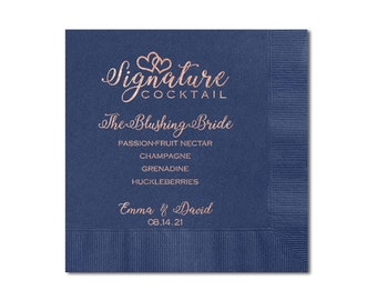 Signature Cocktail Napkins, Personalized Cocktail Napkins For Wedding, 3 Ply Beverage Napkins, Napkin And Imprint Color Options Available