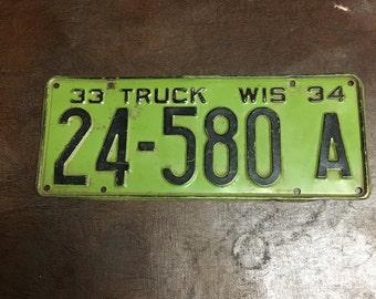 1933-1934 vintage rustic license plate