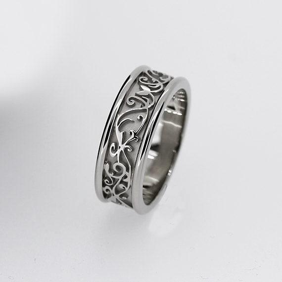 wide white gold filigree wedding band men wedding ring modern wedding band men filigree ring custom wedding men engagement lace ring - Filigree Wedding Rings