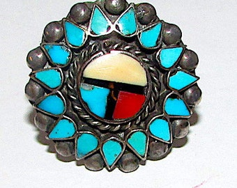 Old Pawn Native American Zuni Sterling Silver Turquoise Coral MOP Jet Sun Face Inlay Ring Size 6.5 Rare 1930s