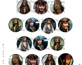Johnny Depp's Jack Sparrow 1 inch Bottle Caps Digital Download  5.8 x 7.5