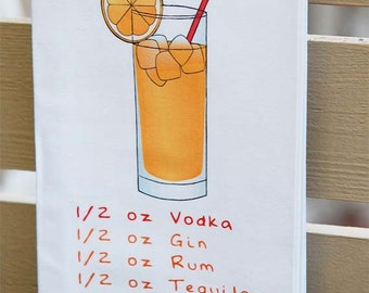 Tea Towel LONG ISLAND ICED Tea Recipe Flour Sack Towel