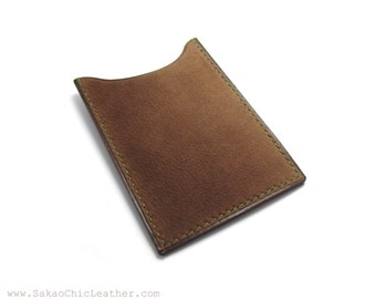DUST Brown Leather Card Case, Handmade Card Holder, Personalized Business Card Case, Vertical Wallet, Card Holder, Sakao on Etsy