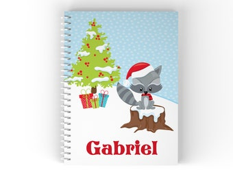 Christmas Personalized Notebook - Christmas Woodland Animals Snow Scene Tree Gifts with Name, Customized Spiral Notebook Back to School