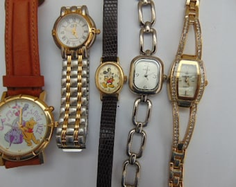 Lot of (5) Quartz Watches Running and Keeping time.