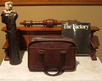 Dads Grads Sale New York Coach Skinny Flight Bag In Mocha Leather Style No 9706- Made In the New York Factory - Rare Find- Strap Missing