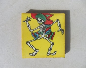 Tiny Tile of Enameled Terracotta  with Dancing Skeleton in a Serape from Mexican Day of the Dead