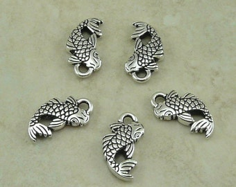 5 TierraCast Koi Fish Charms > Japanese Pond Tranquility Serenity Tattoo - Fine Silver Plated Lead Free Pewter - I ship Internationally 2306