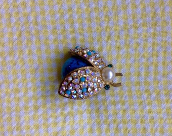 Vintage Fly pin....rhinestones...blue cabochons.....mini faux pearl...1950....free shipping