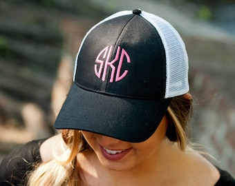 Black Trucker Hat - Baseball Cap - Monogram Cap - Womens Hat - Personalized Cap - Initials Cap - Womens Cap - Black Cap - Women's Gift