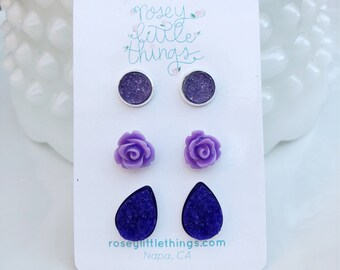 Purple Druzy Set of 3 Post Earrings, Ultra Violet Vintage Inspired Studs, Boho Earring Gift Set for Her, Lead and Nickle Free Stainless