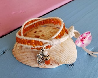 Double Wrap Bracelet made with Round White Leather Cord with Orange Beads and Button Closure and Mermaid Charm