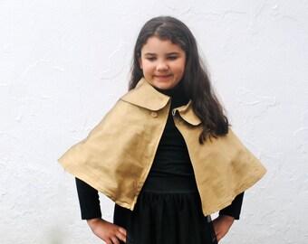 Girls CAPE in Gold Silk- Golden Dressy Shrug, Capelet, Modern Girls Accessory in Size 3T- 6T
