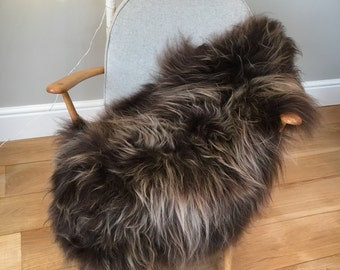 Brown Icelandic sheepskin Luxury , light tipped icelandic sheepskin rug throw chocolate brown