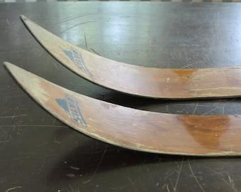 Vintage Huski Fiberglass Skis // Aged Patina  // Prop // Cabin Decor