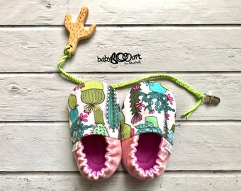 Baby Moccasins | cactus Moccasins | Baby shoes | Prewalker shoes | Baby Booties | baby girl | baby moccs | pink moccasins | cactus mania |