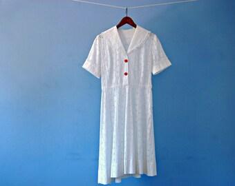White Eyelet Dress 1950s White Cotton Tea Length Shirt Dress Vintage 50s Shirtwaist Swing Day Dress Floral Cutout Shawl Collar Small Medium