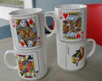 Vintage Poker Coffee Mugs Face Card Joker