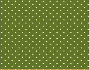 Christmas Fabric -  Green Pin Dot - Yuletide Dot by Lisa deBee Schiller for Windham Fabrics - 40400 Green - Priced by the Half Yard
