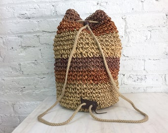vintage straw backpack / striped raffia drawstring backpack / natural straw bucket bag with rope straps