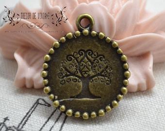 Set of 8 QZW020 charms, Bronze, tree
