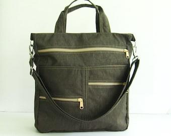 Sale - Chocolate Brown Water-Resistant Tote, messenger, crossbody, school bag, diaper bag, zipper pockets, purse - Melissa