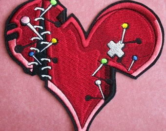 Embroidered Valentine Broken Heart Applique Patch, Pins and Needles and all Stitched Up, Repaired Broken Heart, Valentines Day, Iron. Sew On