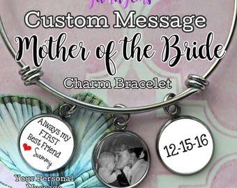 Mother of the Bride Gift Photo Bracelet Mother of Bride Gifts Custom Charm Bracelet Personalized Wedding Step-Mother of Bride Gifts Jewelry