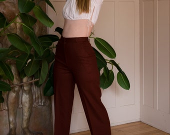 1970s High Waist Wool Trousers by Pant-her Small/Medium