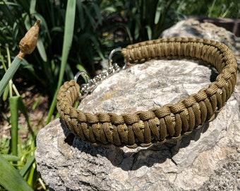 Khaki/Gold colored Paracord Dog Collar - Half Check Chain - Martingale