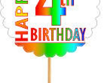 Happy 4th Birthday Rainbow Cupcake Decoration Topper Picks -12pk