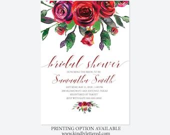 Bridal Shower Invitations-Rose Bridal Shower Digital Invitations-Watercolor Flower Invites-Digital Bridal-5x7-Digital File