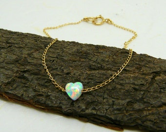 Tiny heart bracelet, Opal bracelet, White heart bracelet, Minimalist jewelry, Simple bracelet, Everyday bracelet, Delicate jewelry