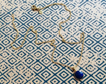 September Lapis Lazuli Birthday Charm Necklace. Gemstone. Birthstone Necklace. 18ct Gold. Recycled Silver. Gift for her. Friendship Charm.