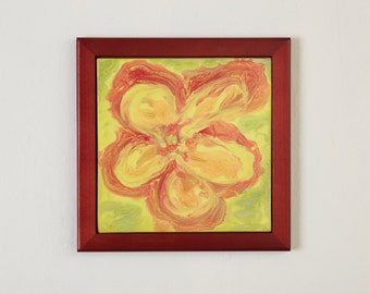 SALE, Tile Wall Art Yellow Red Green Impressionist Flower, 50 Percent Off, Clearance Sale, Ceramic Framed Tiles, Stoneware Ceramic Sculpture